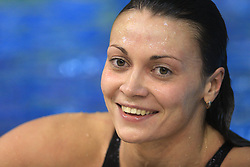 Ombretta Plos of Italy reacts after winning the women's 100m breaststroke final race during day 4 of LEN European Short Course Swimming Championships Rijeka 2008, on December 14, 2008,  in Kantrida pool, Rijeka, Croatia. (Photo by Vid Ponikvar / Sportida)