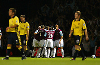 Photo: Chris Ratcliffe.<br />West Ham Utd v Aston Villa. The Barclays Premiership. 12/09/2005.<br />West Ham players celebrate Yossi Benyoun's goal which made it 4-0 to West Ham