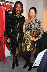 Left to right, SUSAN BENDER and HANNAH BHUIYA at a dinner hosted by Carmen Haid at Atelier Mayer, 47 Kendal Street, London W2 on 21st February 2012.