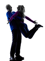 one caucasian couple senior  happy joy wellness  silhouette  in silhouette studio isolated on white background