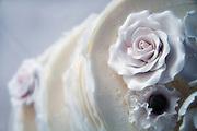 Floral icing detail of wedding cake.