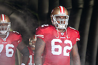 18 September 2011: Right guard (62) Chilo Rachal of the San Francisco 49ers stands in the tunnel before his name is called during player introductions before the Cowboys 27-24 overtime victory against the 49ers in an NFL football game at Candlestick Park in San Francisco, CA