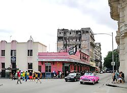 Old Havana, Cuba. Havana vieja, street. dilapetated, collapsing houses. El Floridita bar.