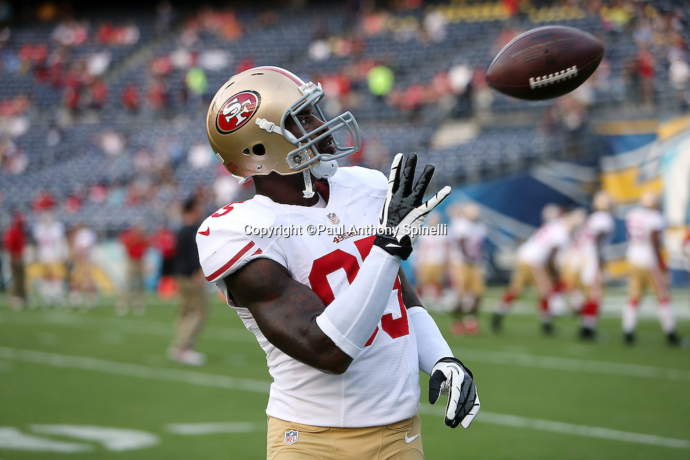 San Francisco 49ers tight end Vernon Davis (85) plays catch before the NFL week 4 preseason football game against the San Diego Chargers on Thursday, Aug. 29, 2013 in San Diego. The 49ers won the game 41-6. ©Paul Anthony Spinelli