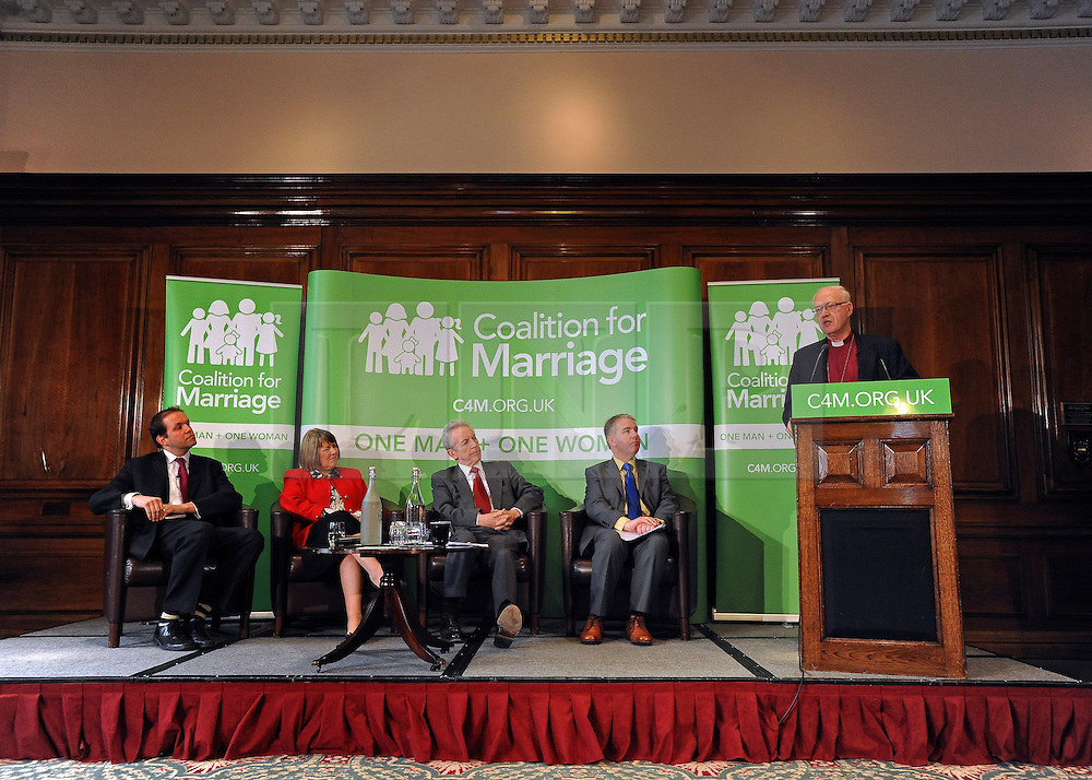 © Licensed to London News Pictures. 20/02/2012, London, UK. Left to right David Burrowes MP, Fiona Bruce MP, Lord Brennan QC, Colin Hart, Lord Carey. George Carey, former Archbishop of Canterbury, attends the launch of a new campaign against same sex marriage today, 20 February 2012. Colin Hart, campaign director of the Coalition for Marriage, who have published a report saying the British public reject gay marriage, chaired a press conference at One Great George Street, Westminster. Photo credit : Stephen Simpson/LNP