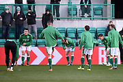 Hibs players warm up for the Ladbrokes Scottish Premiership match between Hibernian and Celtic at Easter Road, Edinburgh, Scotland on 10 December 2017. Photo by Kevin Murray.
