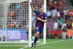 August 7, 2017 - Barcelona, Spain - Gerard Deulofeu of FC Barcelona celebrates after scoring a goal during the 2017 Joan Gamper Trophy football match between FC Barcelona and Chapecoense on August 7, 2017 at Camp Nou stadium in Barcelona, Spain. (Credit Image: © Manuel Blondeau via ZUMA Wire)