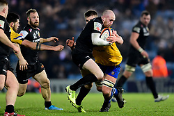 Max Bodilly of Exeter Braves is challenged by Bath United - Mandatory by-line: Ryan Hiscott/JMP - 16/12/2019 - RUGBY - Sandy Park - Exeter, England - Exeter Braves v Bath United - Premiership Rugby Shield