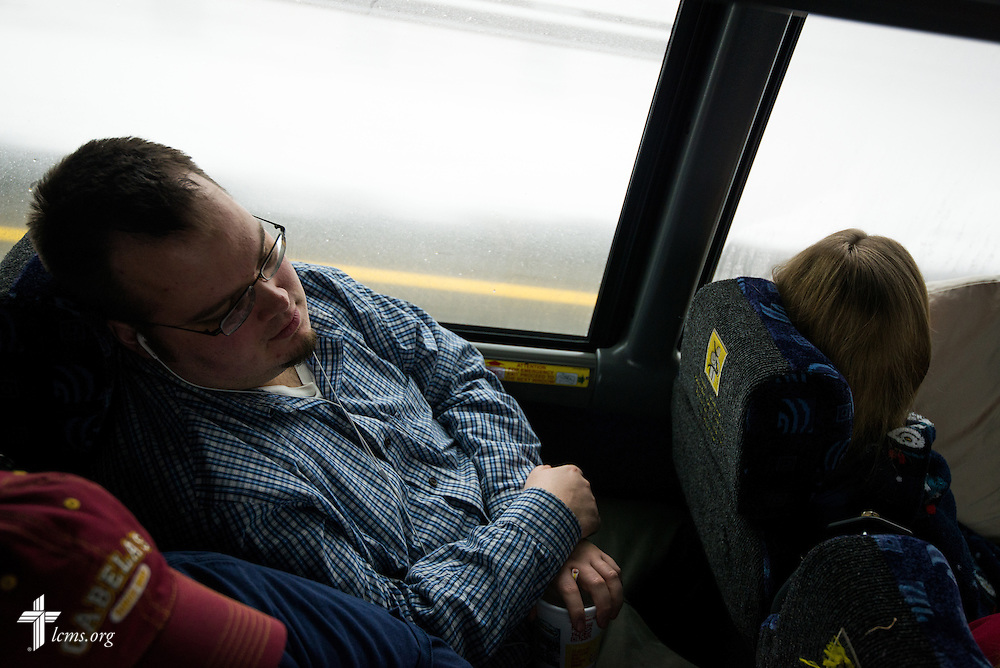 John Zimmerman, a seminarian at Concordia Theological Seminary, Fort Wayne, Ind., catches a nap early Tuesday, Jan. 21, as he and five other seminarians travel with a group of students from Ball State University's Students for Life to Washington, D.C, for the the 2014 March for Life. A small group of students from the Lutheran Student Fellowship led by Deaconess Shaina Mitchell also are riding with the group. LCMS Communications/Erik M. Lunsford