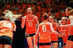20180531 NED: Volleyball Nations League Netherlands - Brazil, Apeldoorn<br />Lonneke Sloetjes (10) of The Netherlands, Yvon Belien (3) of The Netherlands <br />©2018-FotoHoogendoorn.nl