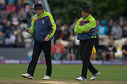 Umpires Rob Bailey and Tim Robinson during the NatWest T20 Blast Quarter Final match between Worcestershire County Cricket Club and Hampshire County Cricket Club at New Road, Worcester, United Kingdom on 14 August 2015. Photo by David Vokes.