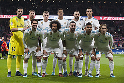 November 18, 2017 - Madrid, Madrid, Spain - Line up Real Madrid (Kiko Casilla, Sergio Ramos, Toni Kroos, Varane, Benzema, Cristiano Ronaldo, Isco,  Marcelo, Carvajal, Casemiro, Modric) during the match between Atletico de Madrid and Real Madrid, week 12 of La Liga at Wanda Metropolitano stadium, Madrid, SPAIN - 18th November of 2017. (Credit Image: © Jose Breton/NurPhoto via ZUMA Press)
