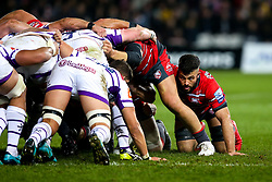 Gareth Evans of Gloucester Rugby takes part in the scrum - Mandatory by-line: Robbie Stephenson/JMP - 16/11/2018 - RUGBY - Kingsholm - Gloucester, England - Gloucester Rugby v Leicester Tigers - Gallagher Premiership Rugby