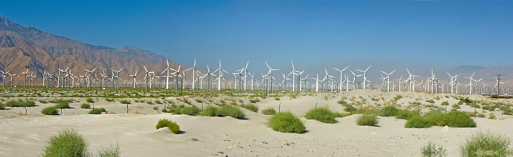 Palm Springs California, San Gorgonio, Pass, Wind, Farm, Turbines Panorama CGI Backgrounds, ,Beautiful Background