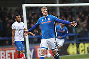 GOAL Steven Humphreys celebrates scoring 2-1 during the EFL Sky Bet League 1 match between Rochdale and Portsmouth at Spotland, Rochdale, England on 7 April 2018. Picture by Daniel Youngs.