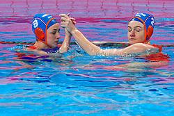 Maartje Keuning #9 of Netherlands, Maud Megens #2of Netherlands during the semi final Netherlands vs Russia on LEN European Aquatics Waterpolo January 23, 2020 in Duna Arena in Budapest, Hungary