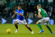 Alfredo Morelos (#20) of Rangers takes on Ryan Porteous (#36) of Hibernian during the Ladbrokes Scottish Premiership match between Hibernian and Rangers at Easter Road, Edinburgh, Scotland on 19 December 2018.