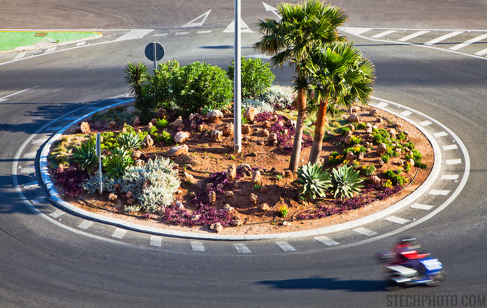 A roundabout or traffic circle at an intersection near Almeria, Spain.