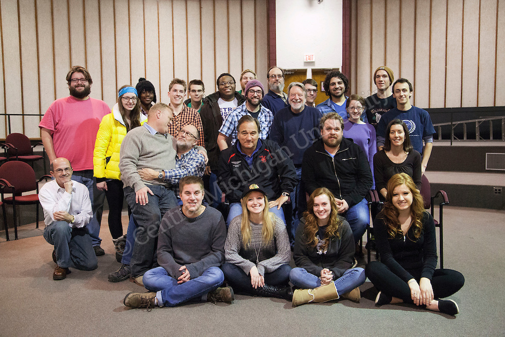 Students work  with actor Jim Belushi and Central Michigan University alum Larry Joe Campbell during an improv workshop on Saturday, January 18, 2013.
