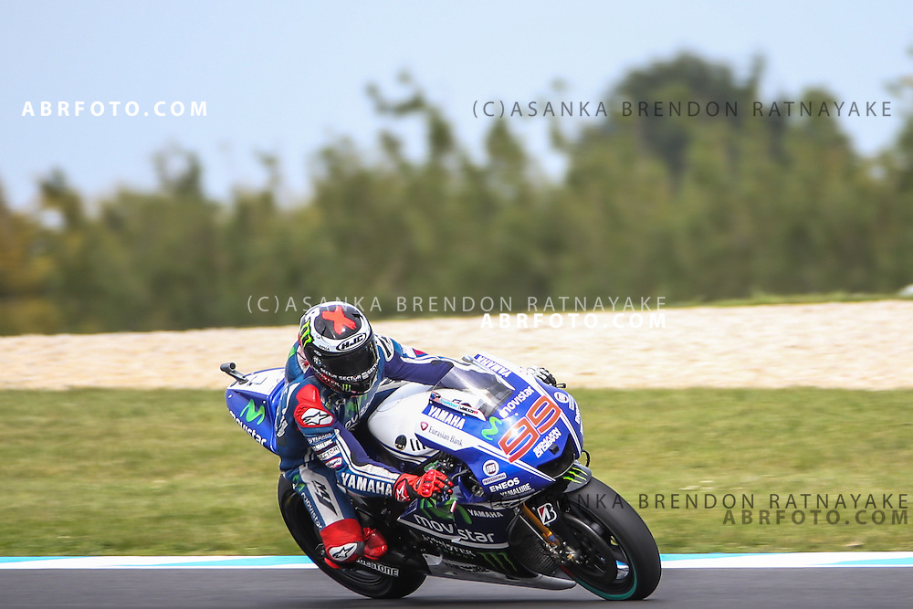 Jorge Lorenzo riding for Movistar Yamaha MotoGP during the 2014 MotoGP of Australia at Phillip Island Grand Prix Circuit in Phillip Island, Australia on the 19th of October.  Photo Asanka Brendon Ratnayake