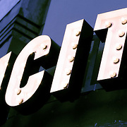 Electricity light globe sign lettering, London, England (September 2007)