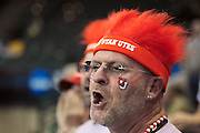 University of Utah fan Scott Monson sports a red hair hat in support at the 2011 Women's NCAA Gymnastics Semifinals on April 15, in Cleveland, OH. (photo/Jason Miller)