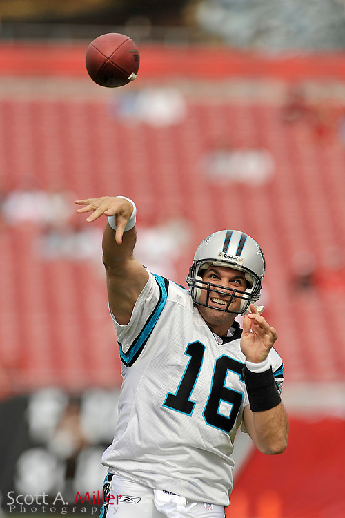 Carolina Panthers quarterback Vinny Testaverde (16) during his team's game against the Tampa Bay Buccaneers at Raymond James Stadium on Dec. 30, 2007 in Tampa, Florida. It was Testaverde's last game.                        ..©2007 Scott A. Miller
