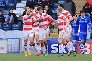 Mitchell Lund goal celebrations 1-1 during the Sky Bet League 1 match between Rochdale and Doncaster Rovers at Spotland, Rochdale, England on 2 April 2016. Photo by Daniel Youngs.