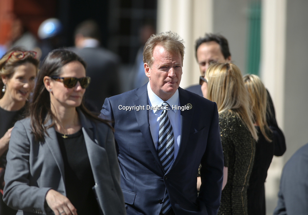 NFL Commissioner Roger Goodell arrives at the funeral service for NFL New Orleans Saints owner and NBA New Orleans Pelicans owner Tom Benson in New Orleans, Friday, March 23, 2018. Benson died last Thursday at the age of 90. (AP Photo/Derick Hingle)