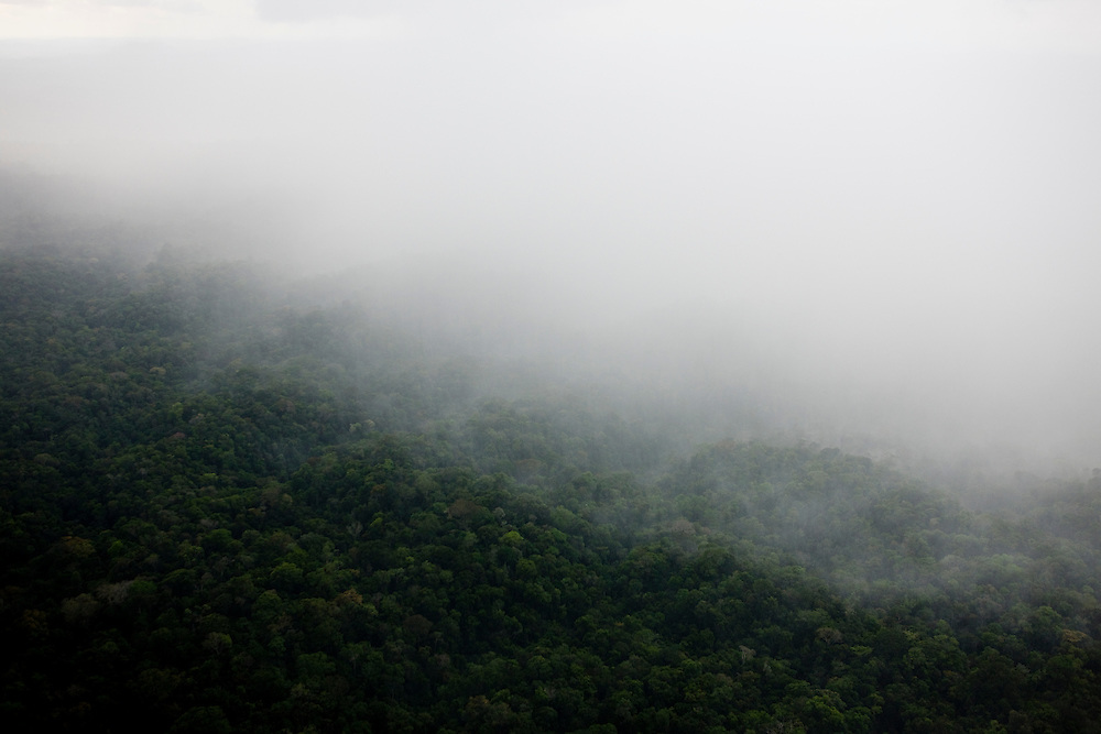 Rain and evaporation over the rainforest. Flight SW of Santarem on Trairao Municipality..Daniel Beltra/Greenpeace