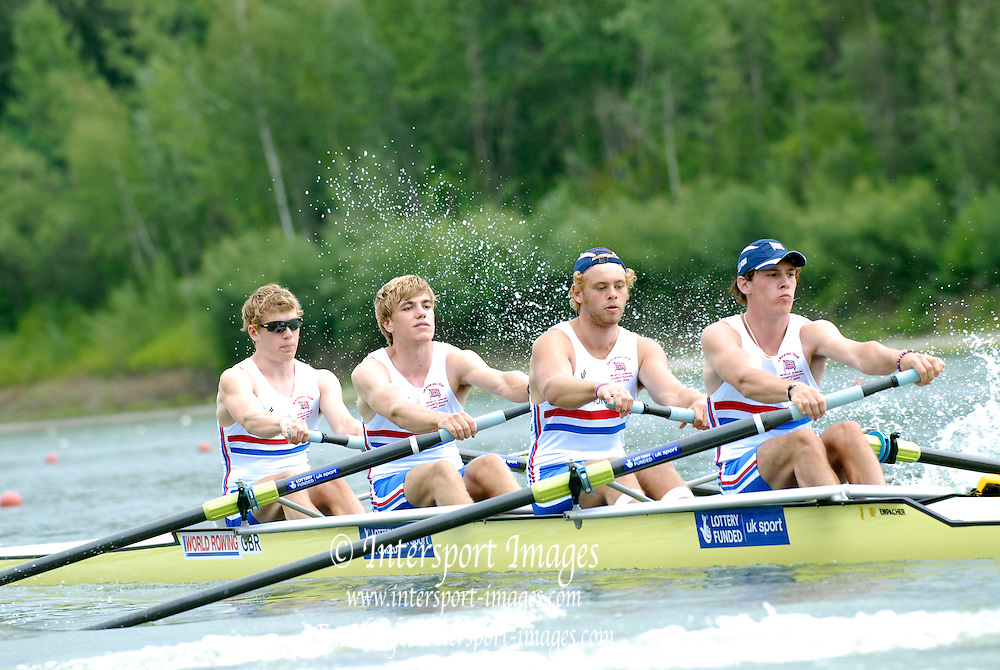 Ottensheim, AUSTRIA.  GBR. JM4-,  Bow Jack MORRISSEY,  William PERHAM, Patrick LAPAGE and Keiren EMERY, move away from the start pontoon, in their morning heat at the 2008 FISA Senior and Junior Rowing Championships,  Linz/Ottensheim. Wednesday,  23/07/2008.  [Mandatory Credit: Peter SPURRIER, Intersport Images] Rowing Course: Linz/ Ottensheim, Austria