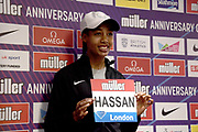 Sifan Hassan (NED) at a press conference prior to the London Anniversary Games, Friday, July 19, 2019, in London, United Kingdom.