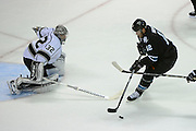 May 26, 2013; San Jose, CA, USA; San Jose Sharks center Patrick Marleau (12) attempts a shot on Los Angeles Kings goalie Jonathan Quick (32) during the first period in game six of the second round of the 2013 Stanley Cup Playoffs at HP Pavilion.