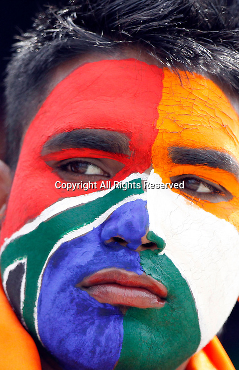 03.03.2011 Cricket World Cup from the Punjab Cricket Association Stadium, Mohali in Chandigarh. South Africa v Netherlands. A South African Spectator during the match of the ICC Cricket World Cup between Netherlands and South Africa
