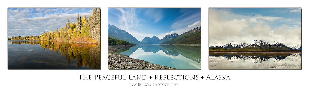 Triptych of reflections on Byers Lake, Eklutna Lake, and pond along Copper River Delta in Alaska.