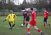 John Todd of Cutty Sark opens the scoring against Occidental in the Riverview Utilities Consulting Ltd Dundee Sunday FA League - Premier Division at Claypotts<br /> <br />  - &copy; David Young - www.davidyoungphoto.co.uk - email: davidyoungphoto@gmail.com