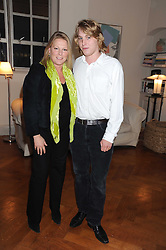 VISCOUNTESS GORMANSTON and her son HARRY GRENFELL at the launch party of Ingrid Seward's new book 'William & Harry - The People's Princes' held at 47 Hornton Court West, London W8 on 7th October 2008.