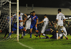 Liam Monelle of Weston Super Mare scores. - Photo mandatory by-line: Alex James/JMP - Mobile: 07966 386802 - 18/11/2014 - SPORT - Football - Weston-super-Mare - Woodspring Stadium - Weston-super-Mare v Doncaster - FA Cup - Round One