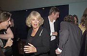 Camilla Parker Bowles and Zac Goldsmi, Tom Parker Bowles, Susan Hill and Matthew Rice host party to launch 'E is For Eating' Kensington Place. 3 November 2004.  ONE TIME USE ONLY - DO NOT ARCHIVE  © Copyright Photograph by Dafydd Jones 66 Stockwell Park Rd. London SW9 0DA Tel 020 7733 0108 www.dafjones.com