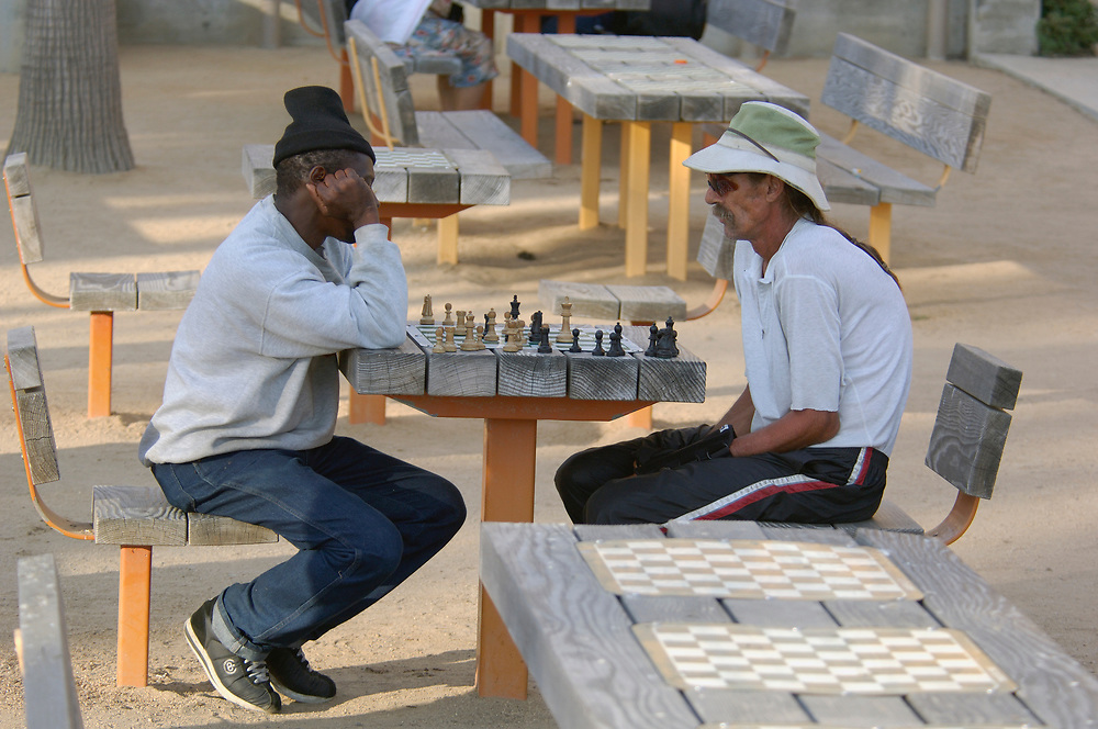Chess playing, Santa Monica Beach, Santa Monica, Los Angeles, California, United States of America
