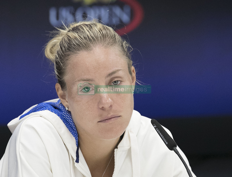 August 30, 2017 - Flushing Meadows, New York, U.S - Angelique Kerber during a press conference after losing her match on Day Two of the 2017 US Open to Naomi Osaka  at the USTA Billie Jean King National Tennis Center on Monday August 29, 2017 in the Flushing neighborhood of the Queens borough of New York City. Osaka defeats Kerber, 6-3, 6-1. (Credit Image: © Prensa Internacional via ZUMA Wire)
