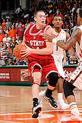 March 7, 2009: Dennis Horner of the North Carolina State Wolfpack in action during the NCAA basketball game between the Miami Hurricanes and the North Carolina State Wolfpack. The 'Canes defeated the Wolfpack 72-64.