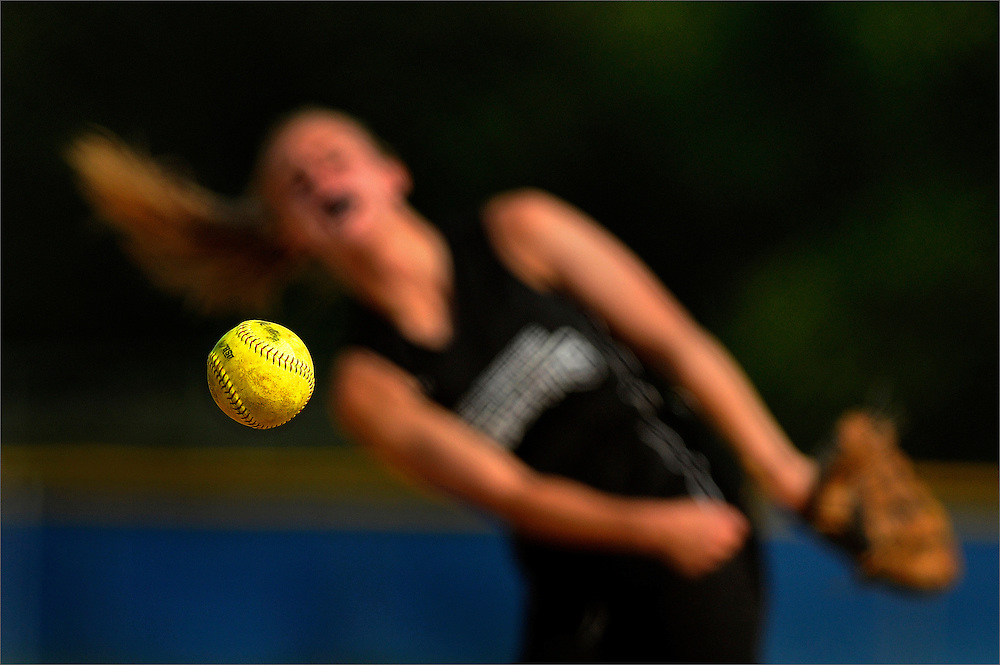 Old Bridge starting pitcher Paige Wiatroski hurls to a Freehold Township hitter during the game held at Freehold Township High School on May 14.