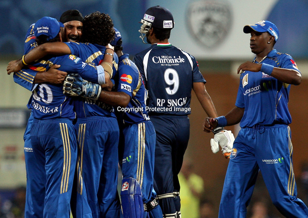 Mumbai Indians Bowler Harbhajan Singh Celebrates With Team Mate  Deccan Chargers Batsman Tirumalasetti Suman Wicket  During The Deccan Chargers vs Mumbai Indians, 25th Twenty20 match Indian Premier League- 2009/10 season Played at Dr DY Patil Sports Academy, Mumbai 28 March 2010 - day/night (20-over match)