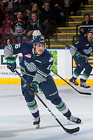 KELOWNA, CANADA - FEBRUARY 13: Alexander True #16 of the Seattle Thunderbirds skates with the puck against the Kelowna Rockets on February 13, 2017 at Prospera Place in Kelowna, British Columbia, Canada.  (Photo by Marissa Baecker/Shoot the Breeze)  *** Local Caption ***