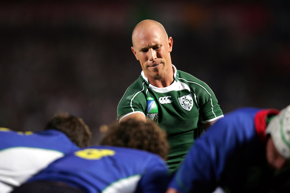 Peter Stringer shows his frustration during the rugby union World Cup match Ireland vs Namibia, 09 September 2007 at the Chaban-Delmas stadium in Bordeaux, southwestern France.