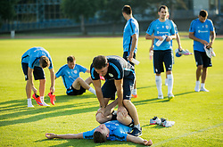 Benjamin Verbic and Marko Sercer, physiotherapist during practice session of Slovenian National Football Team before Euro 2016 Qualifications match against England, on June 10, 2015 in Kranj, Slovenia. Photo by Vid Ponikvar / Sportida
