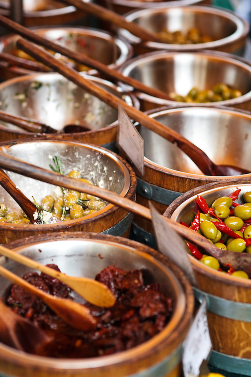 Olives for sale at Stroud Farmers Market, Stroud, Gloucestershire, UK.