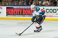 KELOWNA, CANADA - JANUARY 19:  Leif Mattson #28 of the Kelowna Rockets skates with the puck during the shootout against the Prince Albert Raiders on January 19, 2019 at Prospera Place in Kelowna, British Columbia, Canada.  (Photo by Marissa Baecker/Shoot the Breeze)