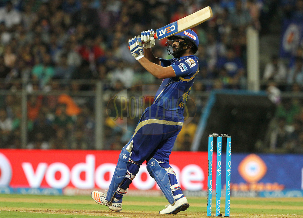 Mumbai Indians captain Rohit Sharma plays a shot during match 24 of the Vivo Indian Premier League ( IPL ) 2016 between the Mumbai Indians and the Kolkata Knight Riders held at the Wankhede Stadium in Mumbai on the 28th April 2016<br /> <br /> Photo by Vipin Pawar / IPL/ SPORTZPICS